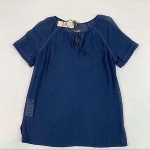 Tommy Bahama lace trim tie neck blouse navy blue